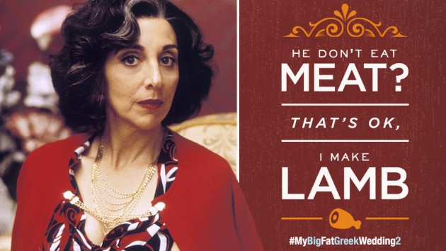 """A picture of Andrrea Martin as Aunt Voula from My Big Fat Greek Wedding 2 on the left with the words """"He don't eat meat? That's OK, I make lamb on the right and the hashtag #MyBigFatGreekWedding2 beneath."""