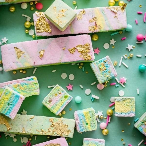 Rainbow Marshmallows via Bakers Royale 600x600