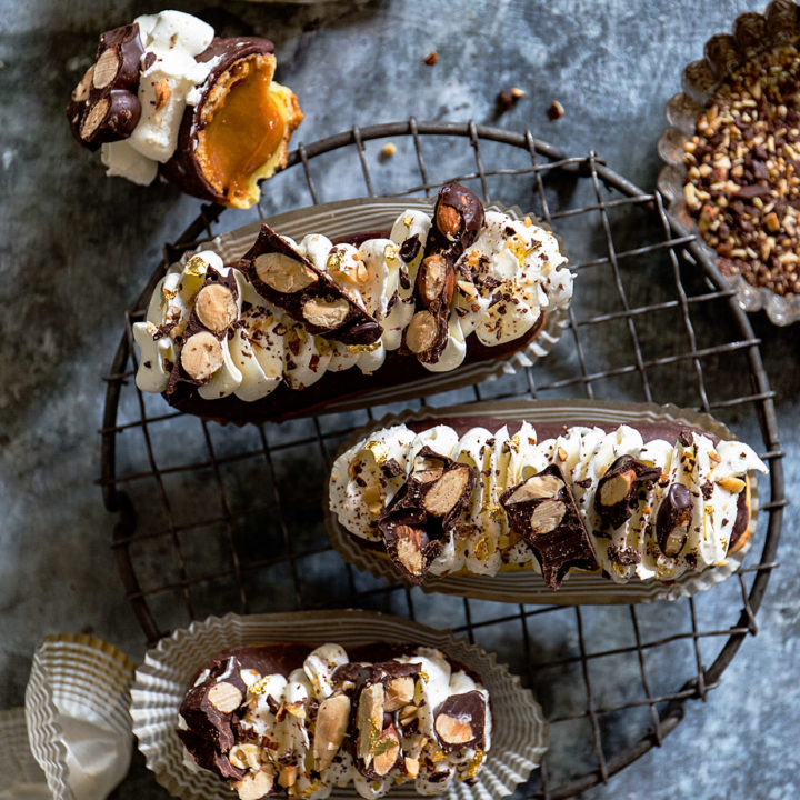 Chocolate Eclairs with Burnt Caramel Pastry Creme