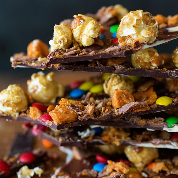 Caramel Popcorn Candy Bark via Bakers Royale 600x600