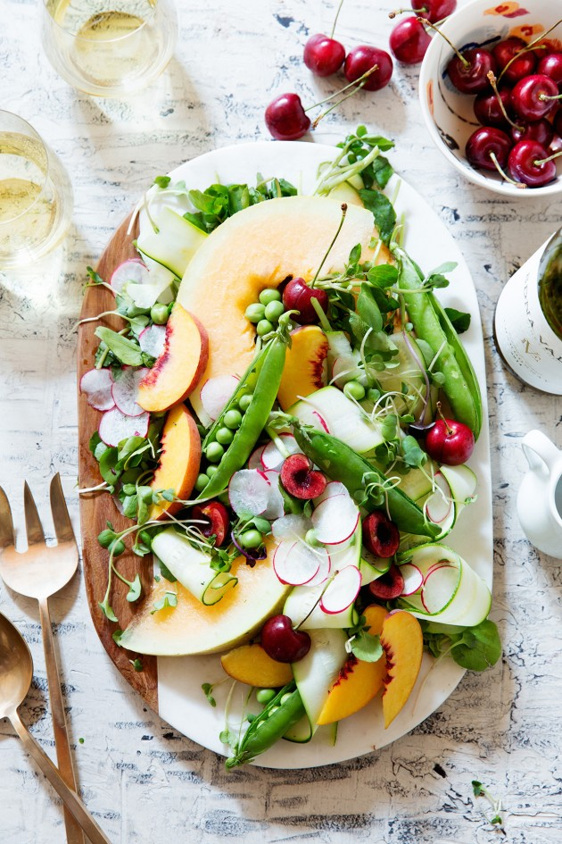 Shaved Zucchini and Summer Fruit Salad