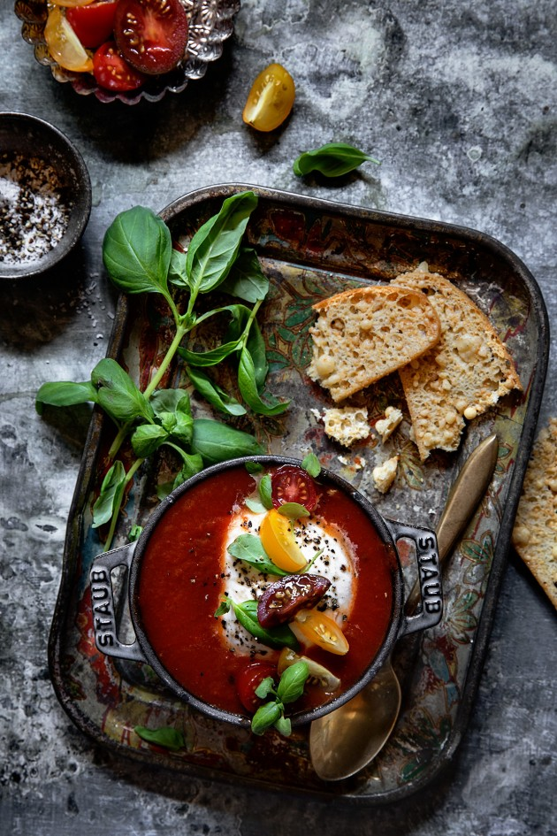 Tomato Soup with Black Truffle Burrata | Bakers Royale