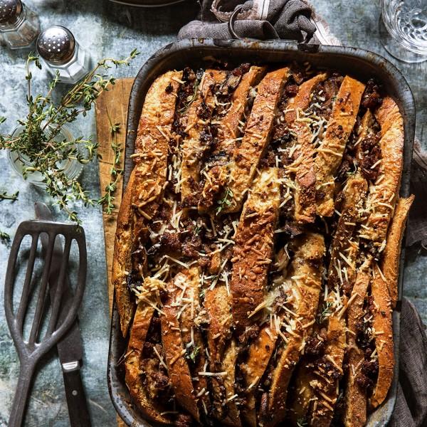Sausage and Mushroom Bread Pudding via Bakers Royale copy 600x600