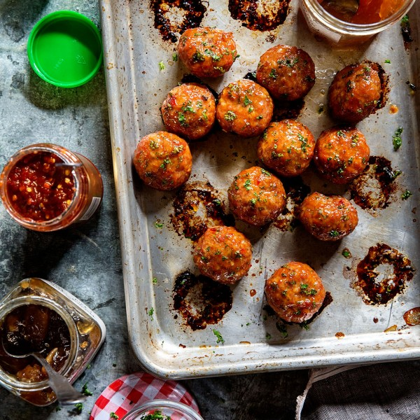 Orange Chicken Meatballs via Bakers Royale copy 600x600