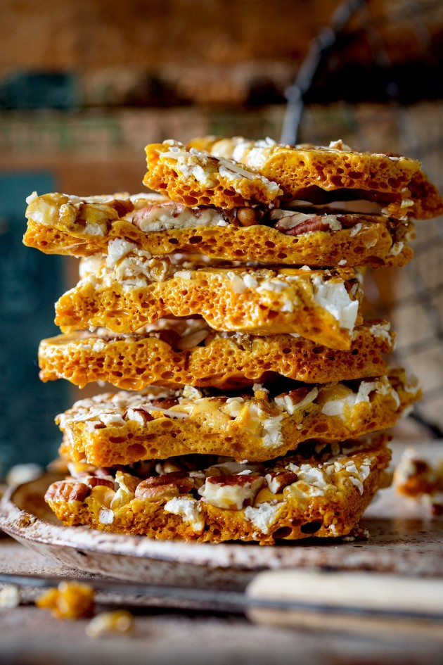 Caramel Corn and Pecan Honeycomb Brittle