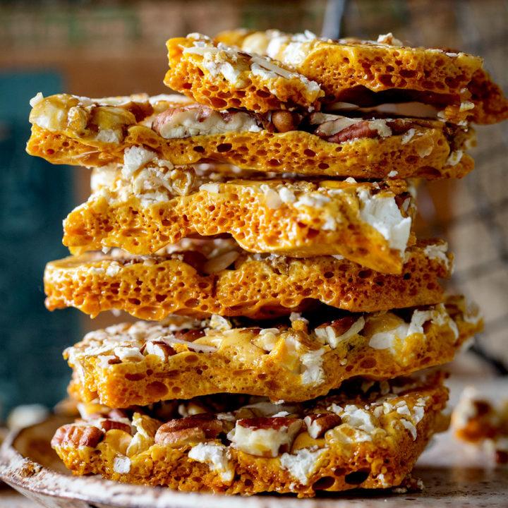 Caramel Popcorn and Pecan Honeycomb Brittle