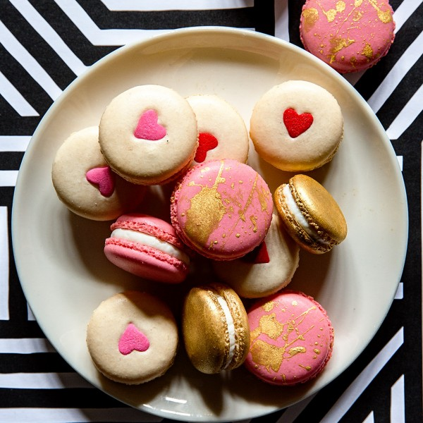Valentine's White Chocolate Macarons via Bakers Royale