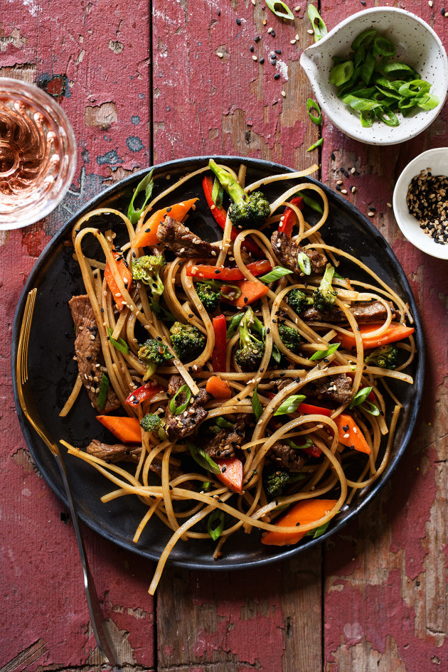 Garlic Sesame Noodles with Beef via Bakers Royale