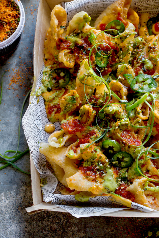 Wonton Nachos via Bakers Royale