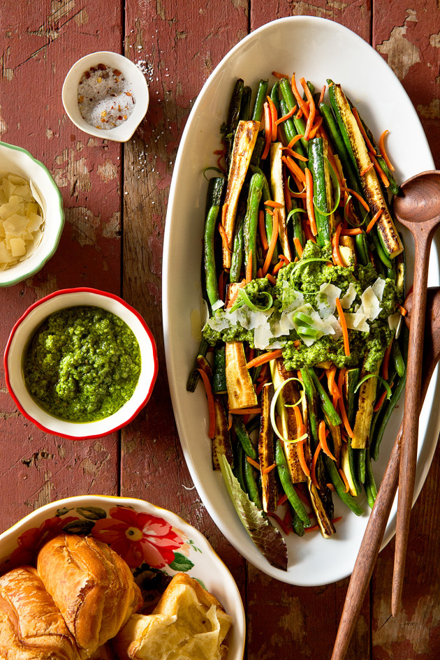 Healthy-ish Thanksgiving   Blistered Green and Zucchini Salad with Pesto via Bakers Royale