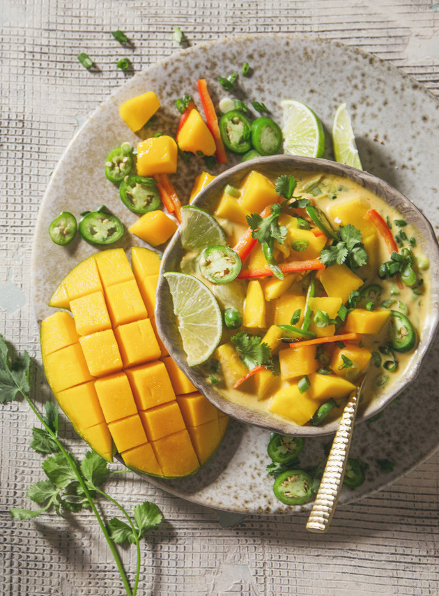 Mango Coconut Curry Soup via Bakers Royale