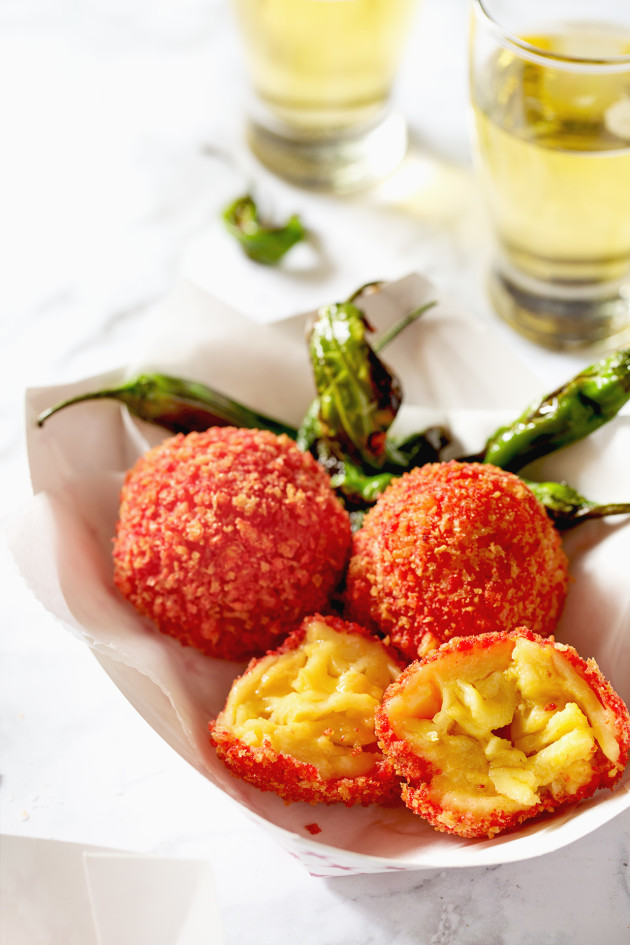 Cheetos Flamin' Hot Zesty Fried Mac and Cheese Balls via Bakers Royale