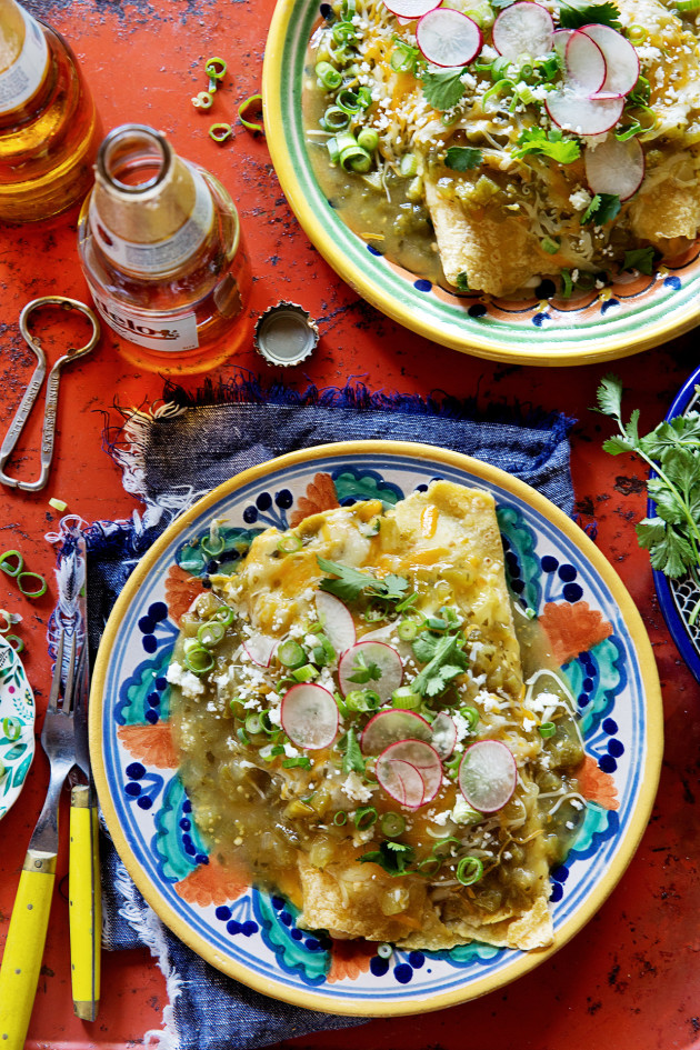 Chicken Enchiladas with Roasted Tomatillos Sauce | Bakers Royale