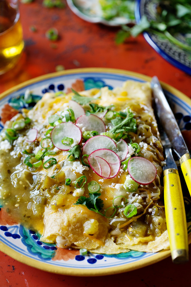 Chicken Enchiladas with Roasted Tomatillos Sauce - Bakers Royale