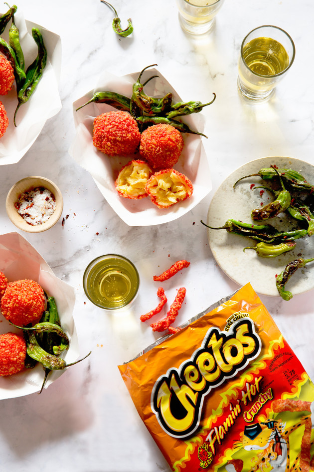 heetos Flamin' Hot Zesty Fried Mac and Cheese Balls | Bakers Royale