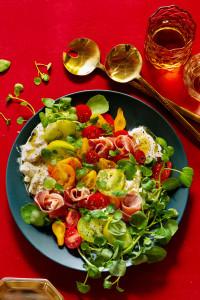 Tomato and Burrata Salad with Prosciutto