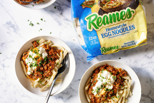 Chorizo Bolognese and Burrata over @ReamesEggNoodles for a fast and easy weeknight meal. #PutSomeHeartyIntoIt #ad