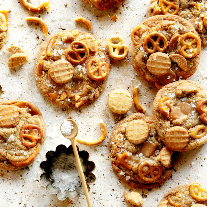 Salted Nutter Butter and Caramel Pretzel Cookies
