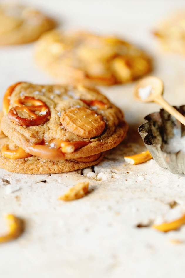 Salted Nutter Butter and Caramel Pretzel Cookies via Bakers Royale