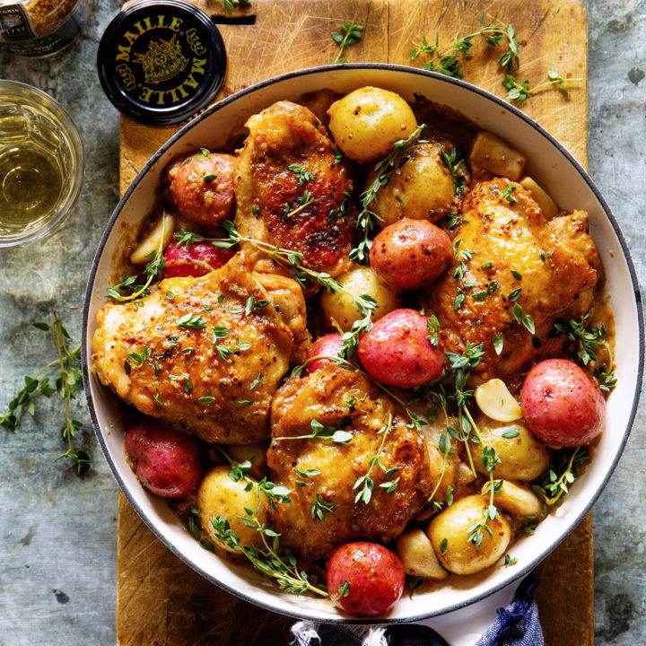 Lemon and Mustard Chicken Thighs & Baby Potatoes