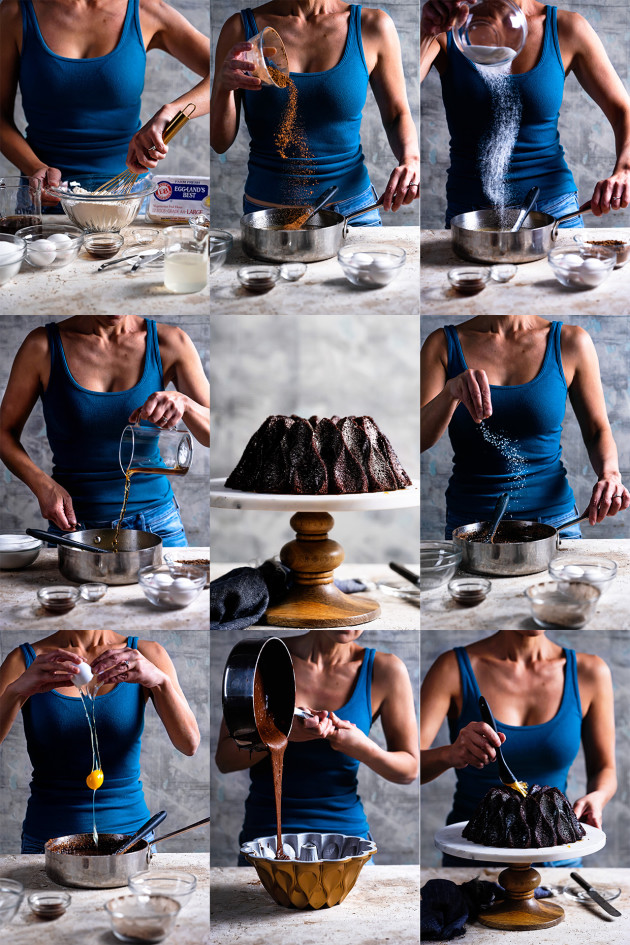 Nine photo montage of the baking process from mixing the ingredients to finish and glazing.