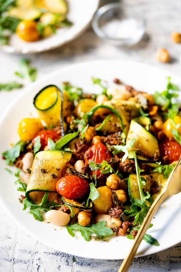 Warm Bean and Chorizo Summer Salad ~ This easy to-make recipe works well as a salad or a stand-alone meal.