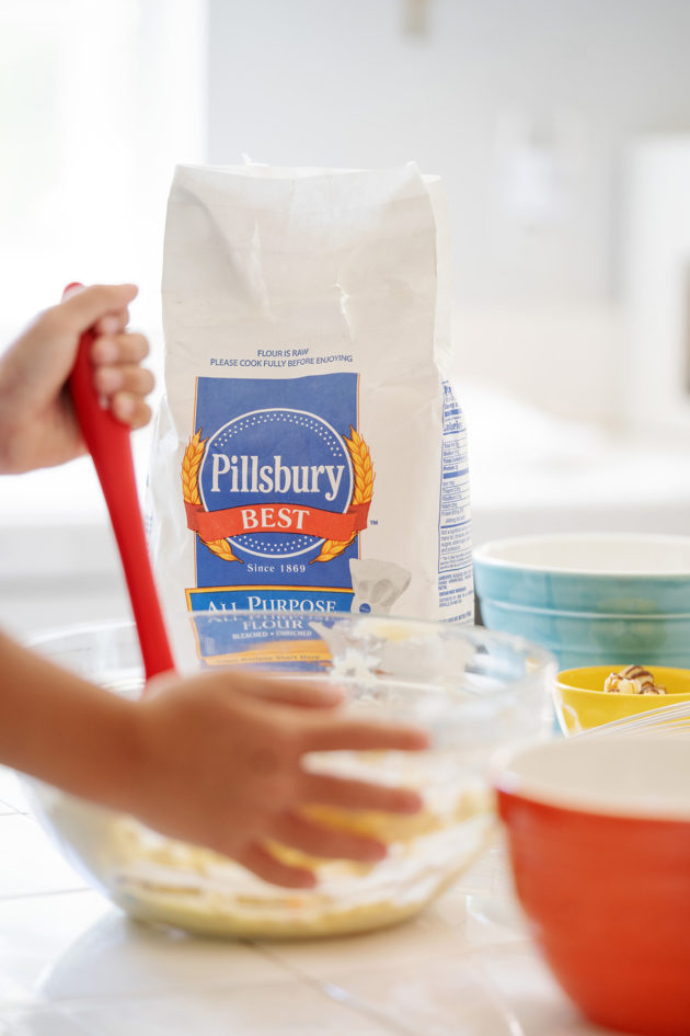Close up shot of the mixing bowl and a bag of Pillsbury Best Flour.