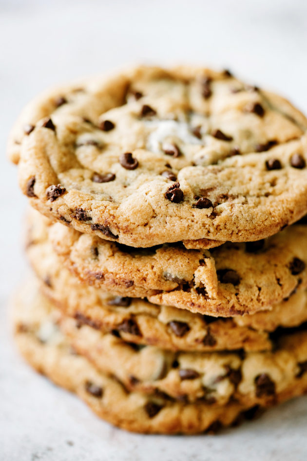 S'mores Chocolate Chip Cookies - A classic chocolate chip cookie stuffed with a whole Reese's Peanut Butter Cup and mini marshmallows.
