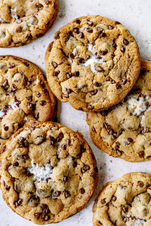 Reese's Smores Chocolate Chip Cookies - Cookies stuffed with a whole Reese's Peanut Butter and mini marshmallows.