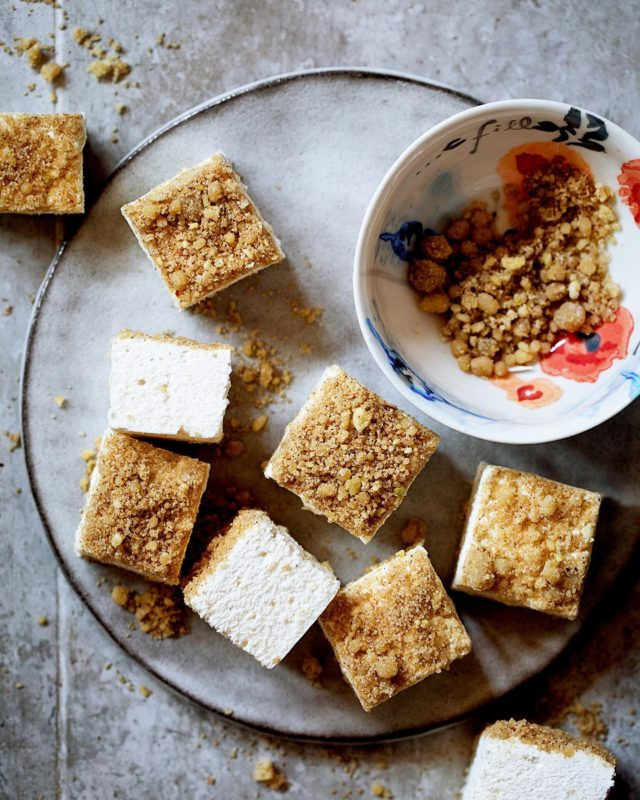 Apple Pie Marshmallows ~ I promise this LITERALLY taste like apple pie.  - Recipe in my profile link or go to Google and type in Apple Pie Marshmallows Bakers Royale - #marshmallow #candy #baking #instabaking #madefromscratch #applerecipes