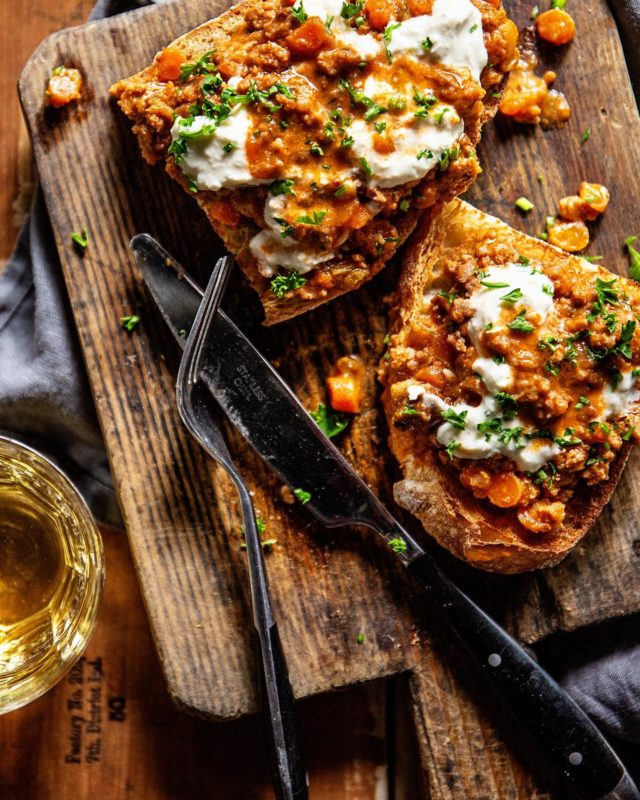 "Bolognese Toast with Burrata. I served this for dinner (not in this styled fashion) and my boys said ""That legit is NOT dinner."" - They grumpily ate this. I feel no guilt. I'm pretty sure they know how to pour themselves a bowl of cereal, if they're still hungry. - #momlife #weeknightdinner #mealtime #bolognese #beef #toast"