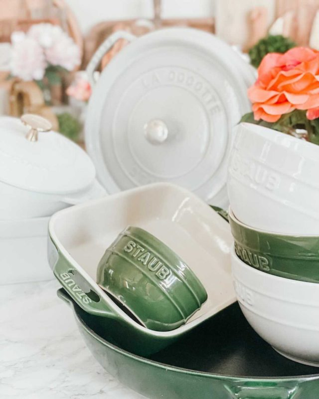 "✨GIVEAWAY TIME🥰✨ Who's ready to level up their cooking?! I got you covered along with a few friends of mine!  We teamed up to make cooking less chore-like and more fun! Everyone knows good pans make good food. #fact  These Staub pieces are a few of my favorites. Here's what's in the @staub_usa giveaway bundle:  • 4 qt dutch oven with brass knob ($457 value) • 10"" white cast iron fry pan ($214 value) • 4-piece stoneware set ($300 value)  All you have to do is follow me and these three fab accounts that I ❤️ + tag a friend in the comments for a chance to win.  Follow:  @atabletopaffair @fashionablehostess  @mrssouthernsocial  The giveaway closes Sunday, the 28th at noon CT. Good luck and have fun!"