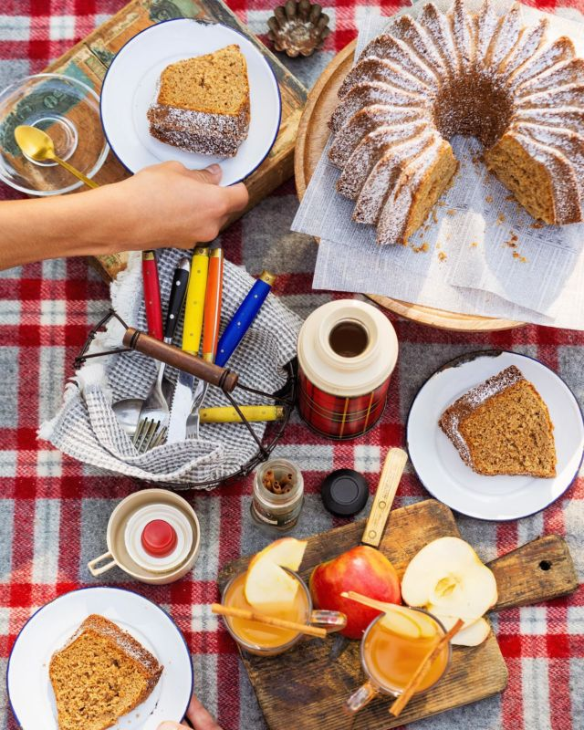 Who's ready to roll into fall with cozy, autumnal picnics? To kickstart the season, the kids and I are headed to the park to enjoy an Apple Spiced Cake and warm sips of Apple Cider sweetened with our favorite pantry staple, @truvia. #ad  Truvia Sweet Complete Sweeteners are zero-calorie and made with plant-based stevia sweetness. Whether you are using the All-Purpose, Brown, or Confectioners Sweetener, they measure cup-for-cup like sugar in your favorite seasonal baked goods!   Apple Spiced Cake  Serves 12   3 cups (14 oz.) self-rising flour 1 ½ teaspoon baking powder 1 teaspoon baking soda 4 teaspoon ground cinnamon 2 teaspoon ground ginger 1 teaspoon fresh grated nutmeg 1/4 teaspoon ground cloves  3 eggs 1 cup (6.25 oz.) Truvia Sweet Complete Granulated All-Purpose Sweetener  1 cup (5.75 oz.) Truvia Sweet Complete Brown Sweetener  1/2 cup buttermilk 1 tablespoon vanilla extract 3/4 cup vegetable oil  1 1/2 cups (5.5 oz.) peeled and shredded granny smith apple, about 2 large  Heat oven to 350 degrees F. Lightly coat a 10-12 cup bundt pan with non-stick spray. Set aside.   In a large bowl, whisk together the flour, baking powder, baking soda, cinnamon, ginger, nutmeg and cloves. Set aside.  In a second large bowl, add the eggs, and beat until combined. Add both the Truvia Sweet Complete Granulated All-Purpose and Brown Sweeteners, whisk until fully incorporated. Pour in buttermilk, vanilla extract, and vegetable oil, whisk until combined.   Fold dry ingredients into the wet until smooth. Add the grated apples and fold until just combined.   Pour batter in prepared pan and bake for 45 minutes or until a cake tester comes out free of wet batter. Transfer cake to a wire rack and let cool in the bundt pan for 20 minutes. Unmold cake and let cool completely on a wire rack. Before serving, dust with Truvia Sweet Complete Confectioners Sweetener. Enjoy outside with a seasonal beverage!
