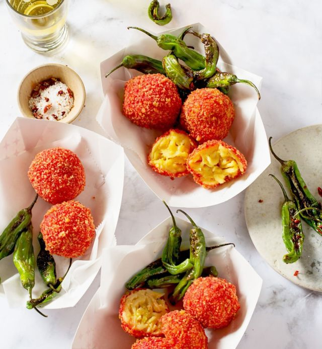 Cheetos Flamin' Hot Crunchy Fried Mac and Cheese Balls ~ Next level game day food!! Am I right? - #tailgate #gameday #macandcheese #foodbeast #cheesey
